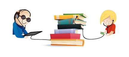 Titre: Illustration - Description: Un homme et un petit garçon avec des casques audio sur la tête sont reliés à une pile de livres.